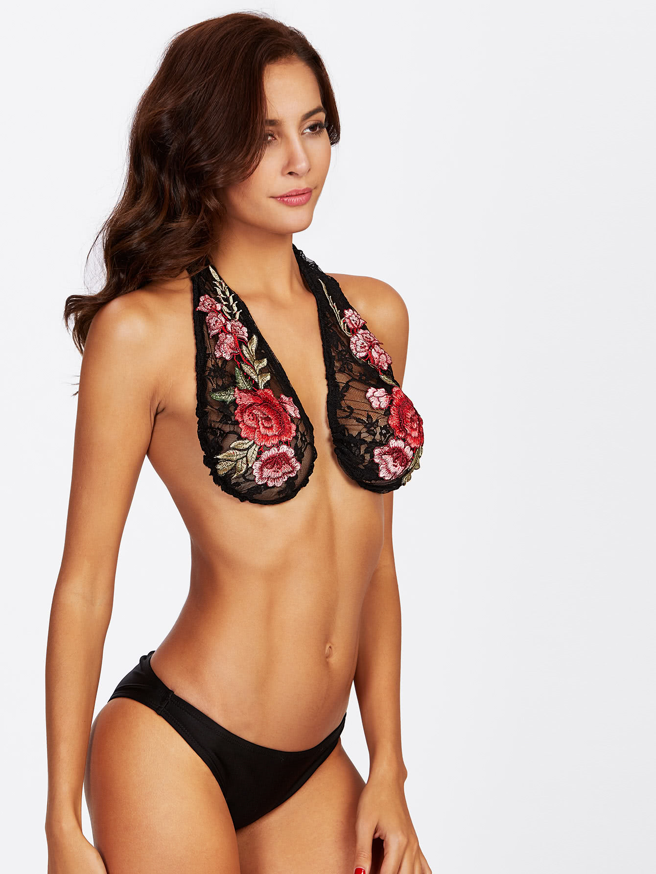 4 boob hammock - Open Back Embroidered Rose Lace Bralette
