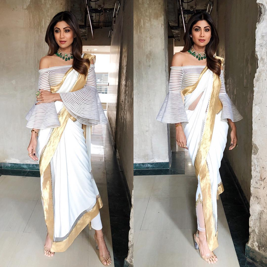 19 shilpa shetty - white saree with bell sleeves