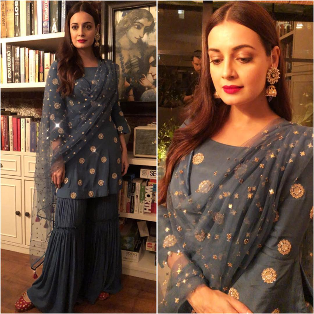 6 sharara - dia mirza in blue suit on eid