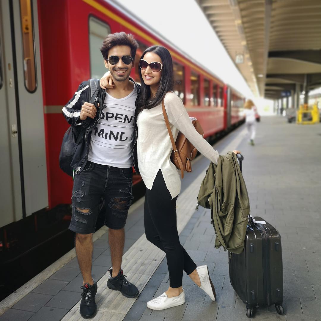 2 sanaya irani - with husband mohit sehgal at train station in switzerland