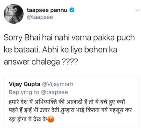 taapsee pannu's reply to her troller on twitter