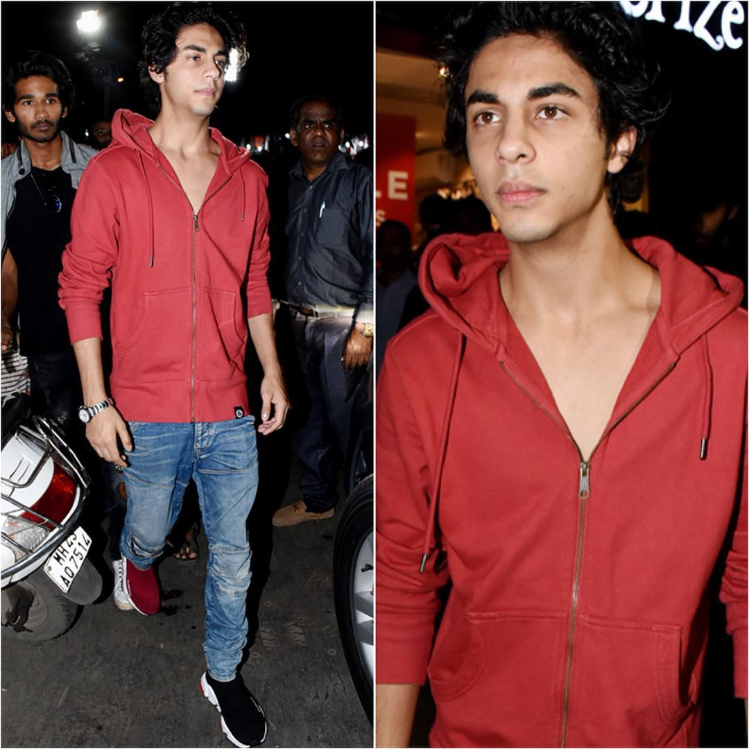 1 aryan khan - red sweatshirt