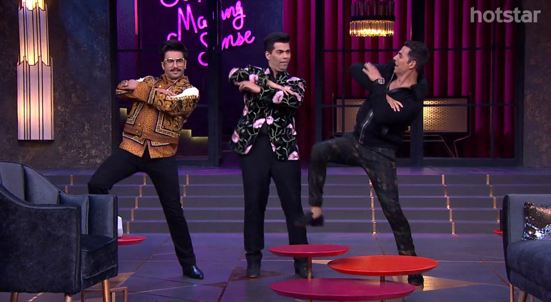 1-KWK-Akshay-Ranveer-dancing Koffee With Karan
