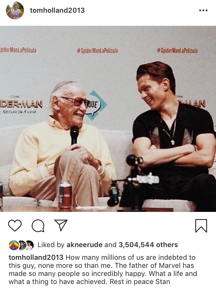 creater of the marvel universe  stan lee dies at 95-tom holland