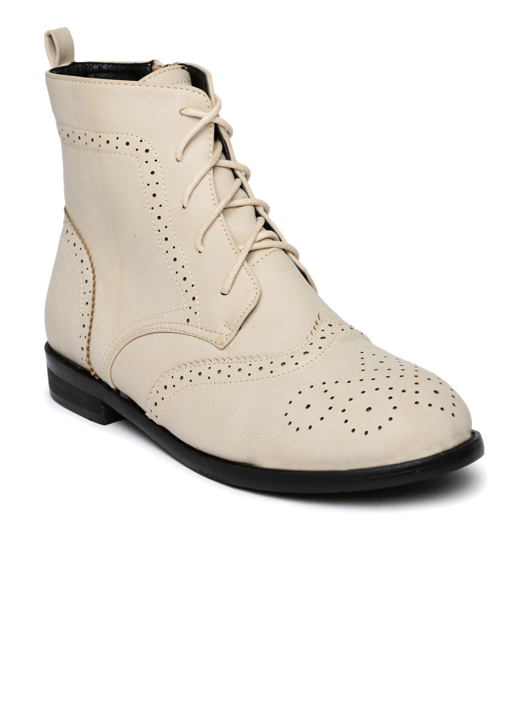 31-types-of-boots-Beige-Perforations-High-Tops-Flat-Boots