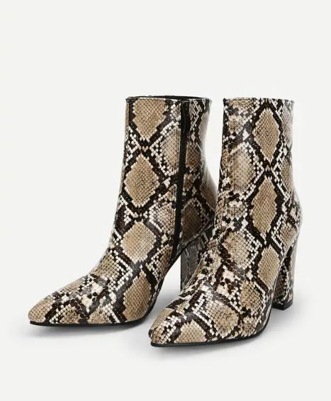 32-types-of-boots-Snakeskin-Print-Point-Toe-Ankle-Boots