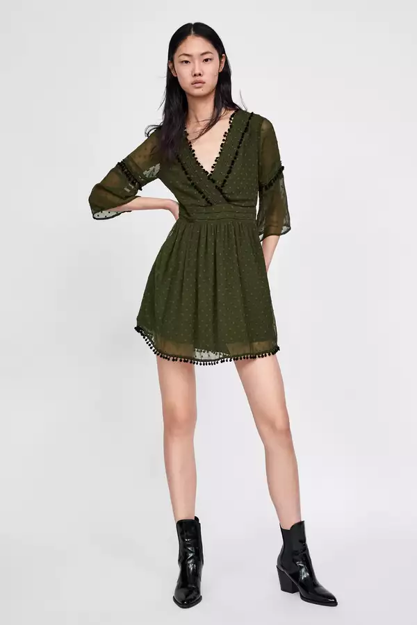 9-honeymoon-dresses-Dotted-Mesh-Dress-With-Pompom-Trims