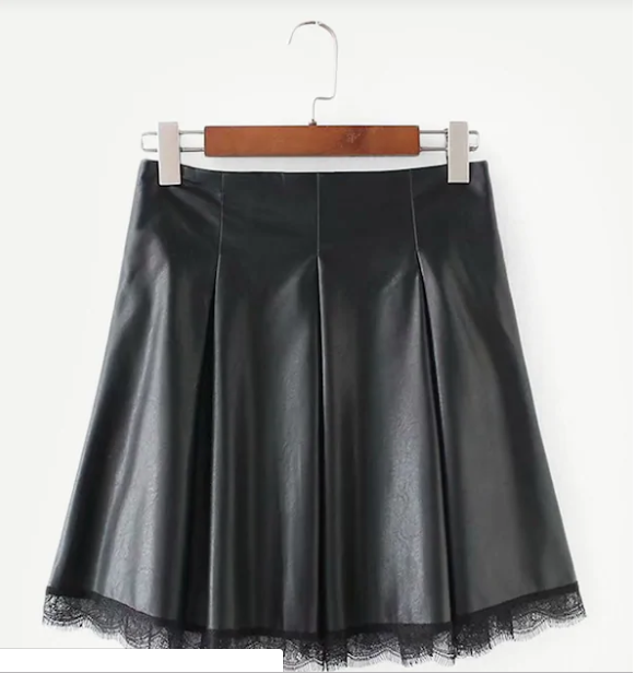 black skirt with lace