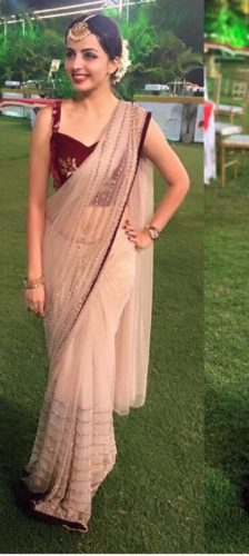 beautiful color nylon net with pallu saree and blouse