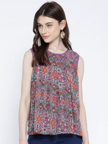 Multicoloured Printed A-Line Top