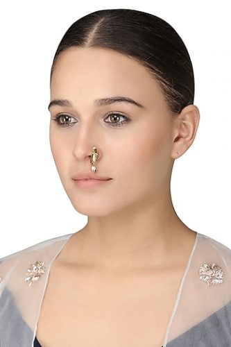 Gold Plated Rice Pearls Nose Ring