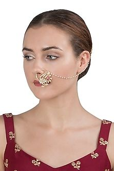 RIANA JEWELLERY Gold plated white stones nose ring