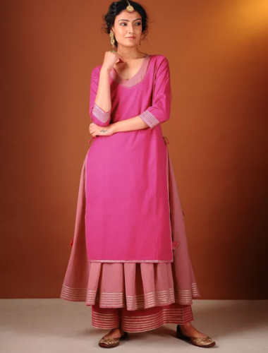 jaypore-pink-kurta-and-slip-best-kurta-brands