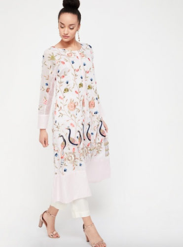 melange-white-embroidered-kurta-best-kurta-brands