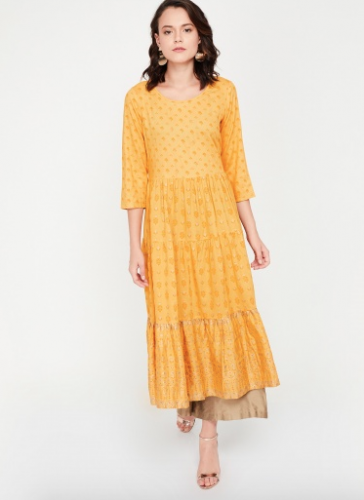melange-yellow-tiered-kurta-best-kurta-brands