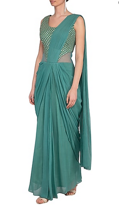 terrefic-teal-pre-drapped-saree