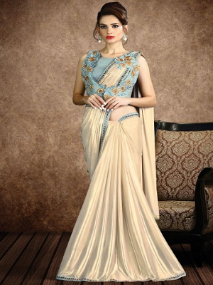 white-fancy-knit-pre-drapped-saree