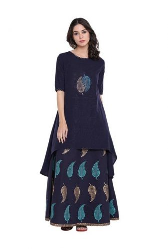 Kurti with Skirts for Indian Festivals- All Blue leaf 46
