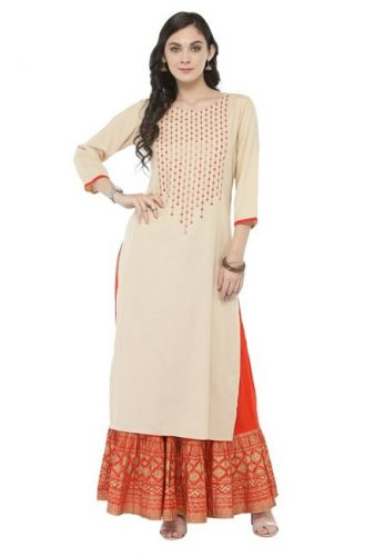 Kurti with Skirts for Indian Festivals- beige orange 44