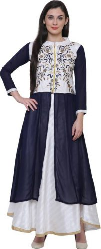Kurti with Skirts for Indian Festivals- blue white net 35