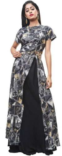 Kurti with Skirts for Indian Festivals- clack and slit 45