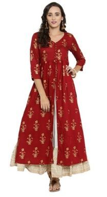 Kurti with Skirts for Indian Festivals- maroon white 42