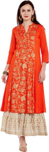 Kurti with Skirts for Indian Festivals- orange white 26