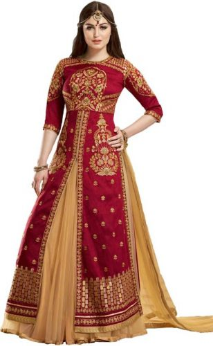 Kurti with Skirts for Indian Festivals- red bridal 39