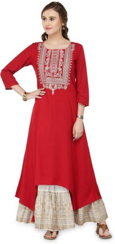 Kurti with Skirts for Indian Festivals- red white 25