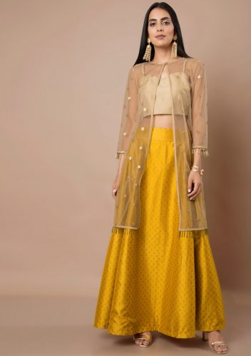 Kurti with Skirts for Indian Festivals- yellow net 49