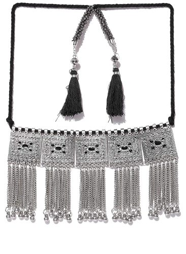 NAWAB Black Non-Precious Metal Oxidised Choker Necklace for Women - best-affordable-choker-necklaces