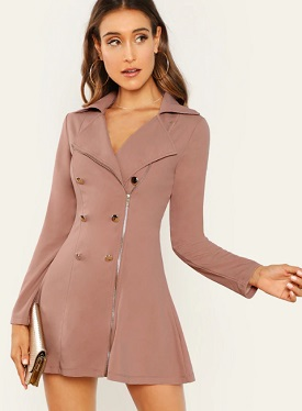 Zip Front Blazer Dress Winter Wear