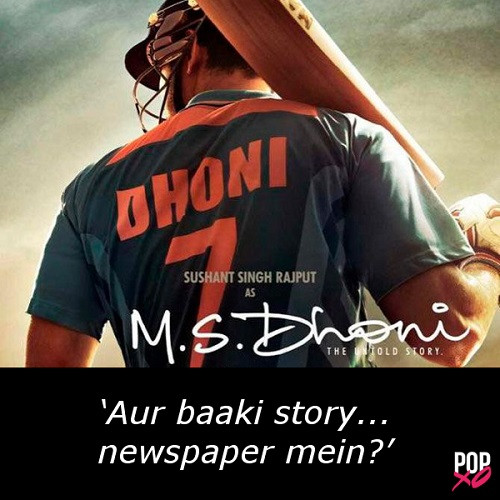 one line movie review - ms dhoni the untold story b