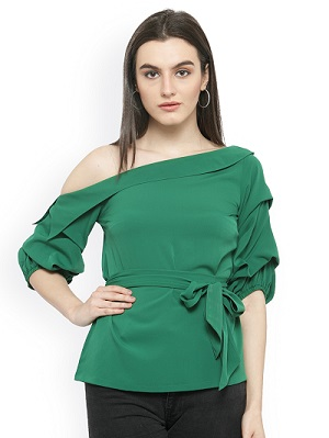 Green-Solid-Cinched-Waist-Top-tops-for-college-girls