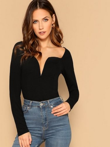 Sleeve-V-Cut-Neck-Solid-Tee-how-to-dress-without-showing-too-much-skin