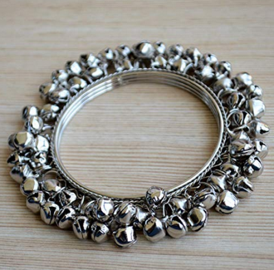 Pretty Ponytails Ethnic Jewelry Silver Ghungroo Bangle