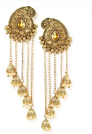 Zaveri Pearls Tassels With Dome-Shaped Jhumki Drops Earring Zinc Dangle Earring