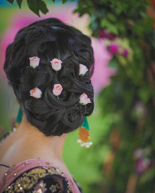3 bridal hairstyles with flowers