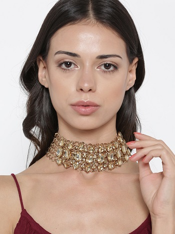 Gold-Toned-Yellow-Stone-Studded-Choker-Necklace