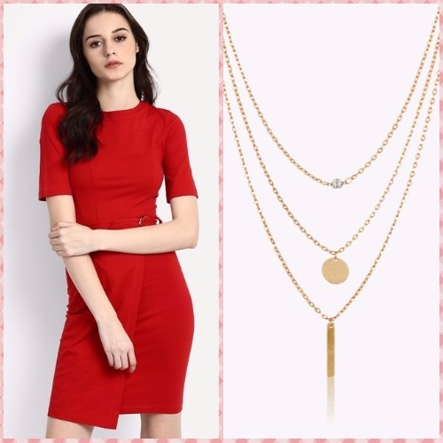 8-bachelorette party outfits-gloriana red dress oomph necklace