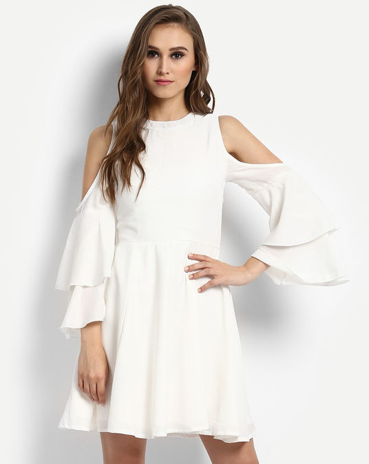 6 party dresses - White Clora Cold Shoulder Skater Dress
