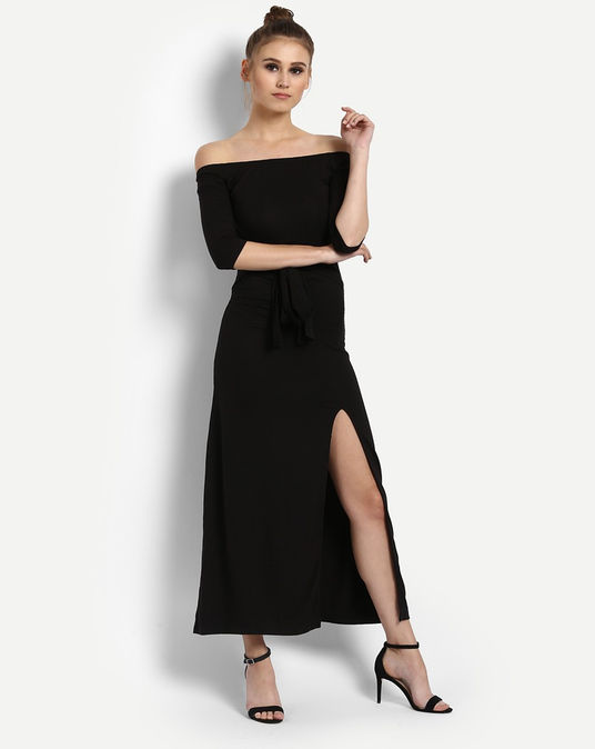 8 party dresses - Black Jodie Off Shoulder Maxi Dress
