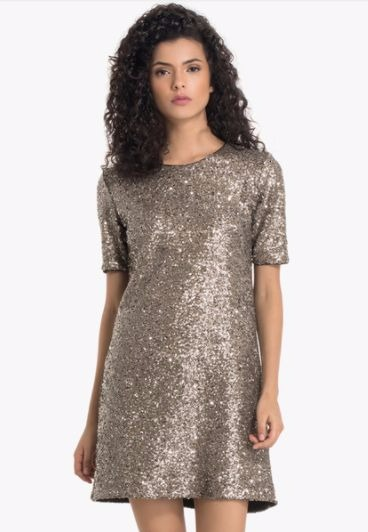 1 party dresses - Silver Embellished Shift Dress
