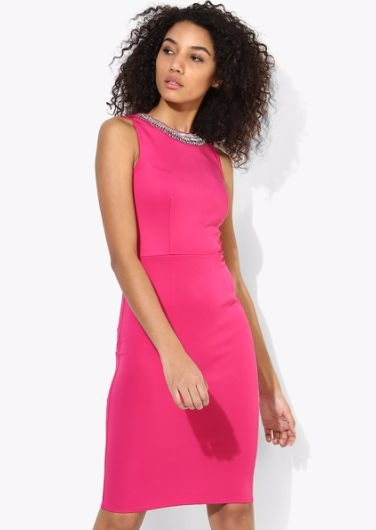4 party dresses - Pink Coloured Embellished Shift Dress