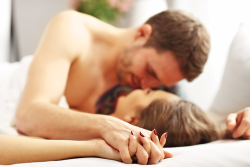 Internal went down on me - intimate couple in bed