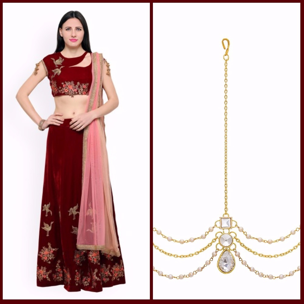 4 first karva chauth velvet red lehenga matha patti