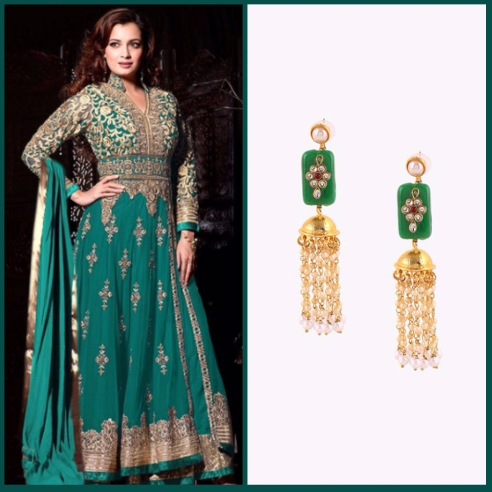 6 first karva chauth green anarkali and earrings