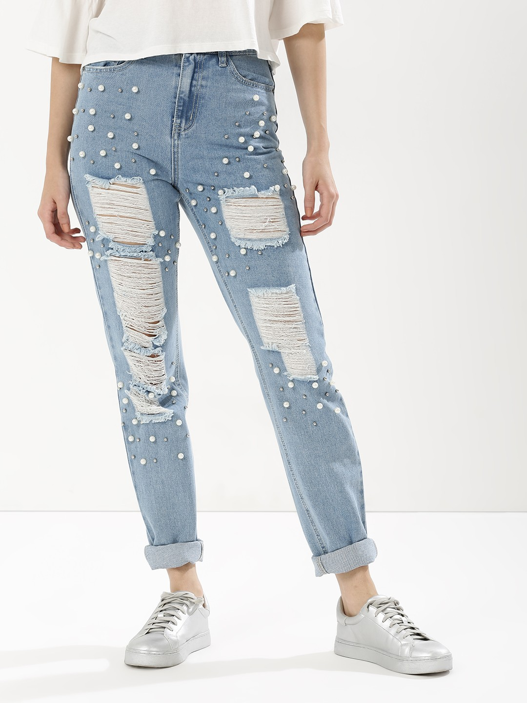 3 jeans makeover - Pearl Embellished Boyfriend Jeans distressed