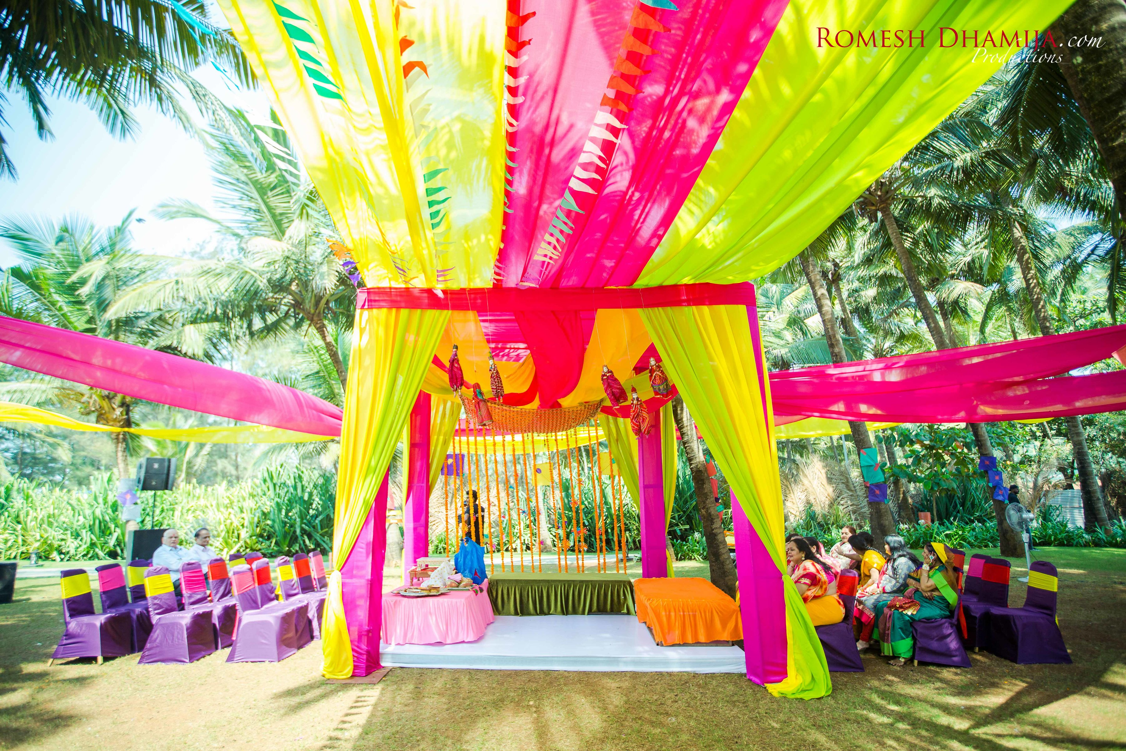 real wedding in goa pink and yellow decor