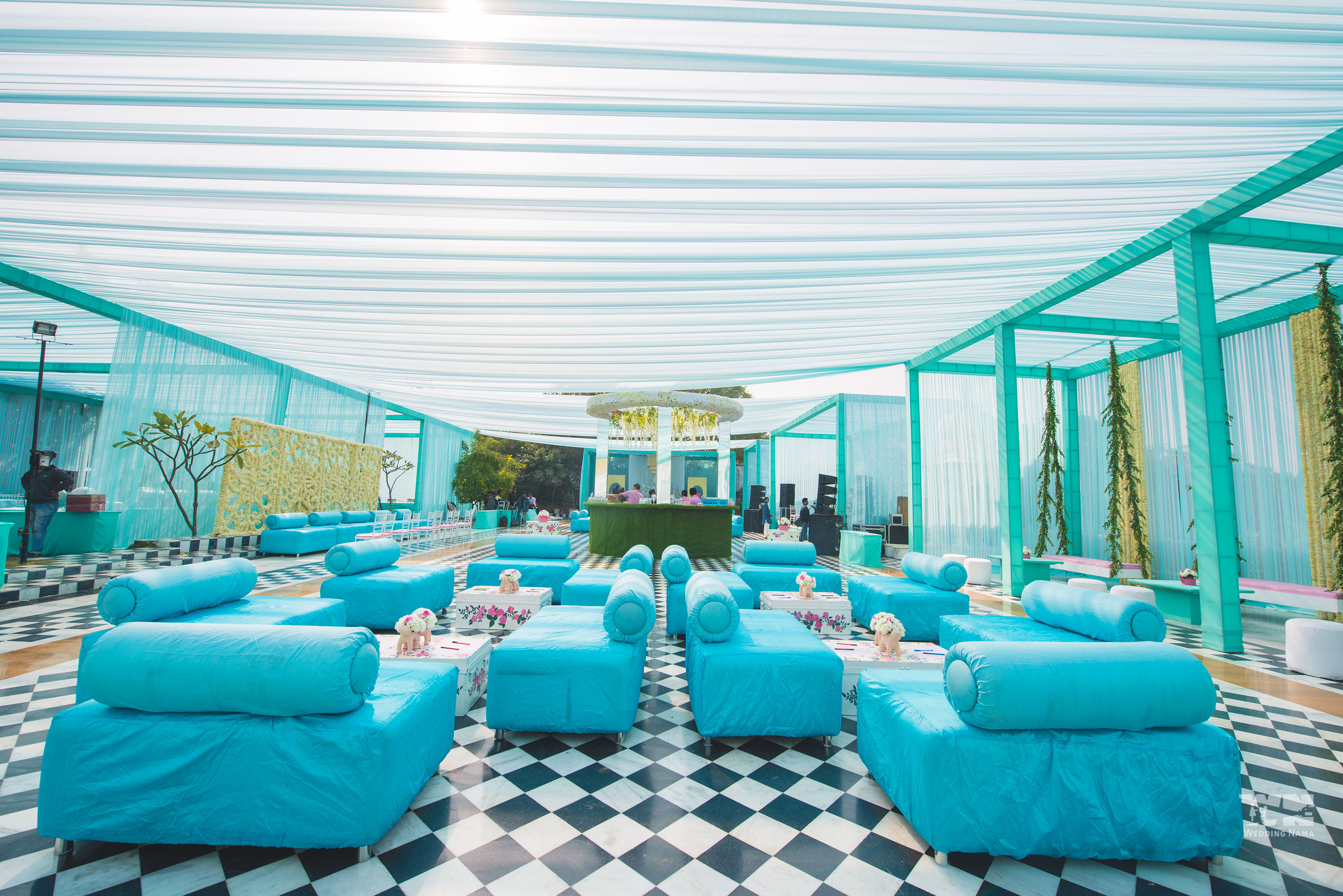 persian themed mehendi venue decor blue
